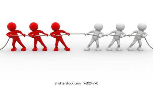 3d people - men, person rope pulling. Clipping path included