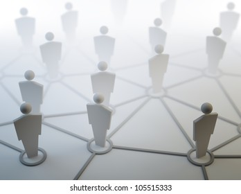 3D people network connections concept illustration