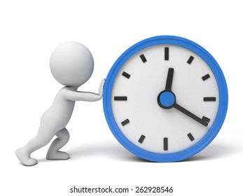 A 3d people push a big clock. 3d image. Isolated white background