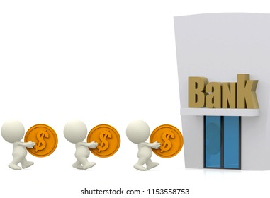 3D people queuing at the bank carrying coins - isolated over a white background 3D illustration, 3D rendering.