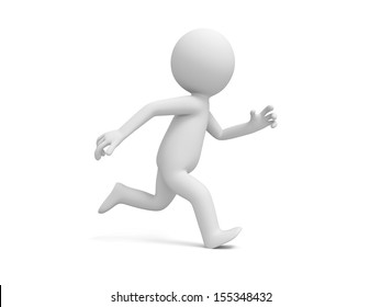A 3d people running isolated white background