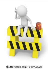 A 3d people sitting on the roadblocks, thinking