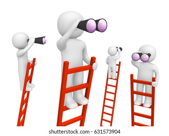 3d people standing on the ladders and looking through binoculars. 3d render.
