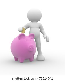 3d people-human character with piggy bank and golden coin - 3d render illustration