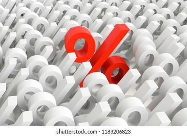 3D with percentages signs with one of them red and more bigger. Concept of increase of percentages. 3D Rendering.