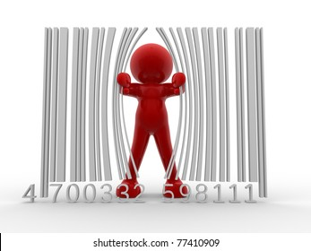 3d person and bar code ( barcode) - This is a 3d render illustration
