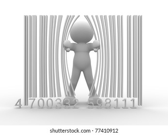 3d person and bar code ( barcode )- This is a 3d render illustration