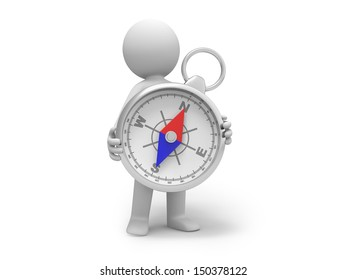 A 3d person holding a compass, standing