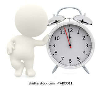 3D person leaning on a table clock isolated over a white background