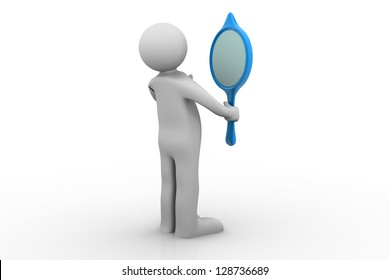 3D person looking in a mirror - isolated over a white background