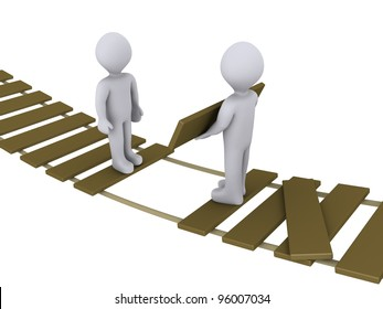 3d person on suspended bridge is helping another to cross