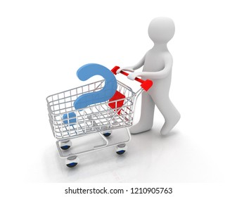 3d person with question mark on a pushcart.3d illustration