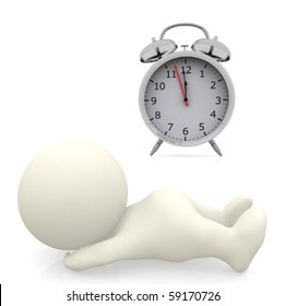 3D person sleeping with an alarm clock on the side - isolated over a white background