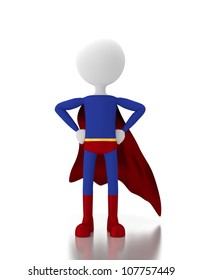 3d person in a super hero costume similar to superman. 3d image render. Isolated white background.