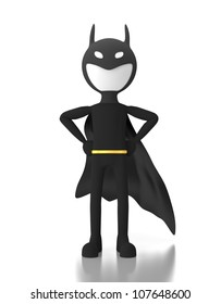 3d person in a superhero costume similar to batman. 3d image render. Isolated on white background.
