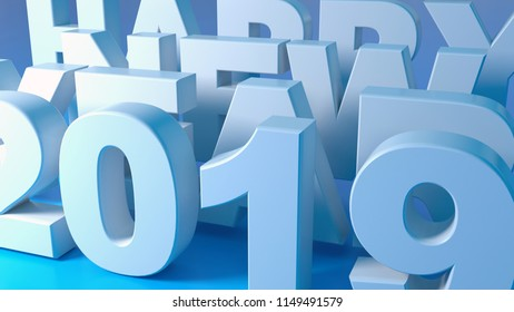 3d perspective backdrop of happy new year 2019