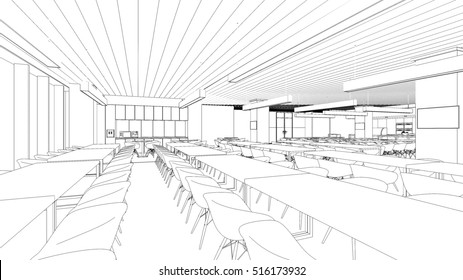 3D perspective outline  interior space