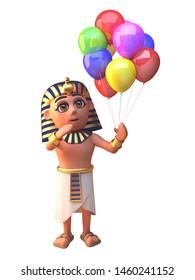 3d pharaoh Tutankhamun character holding many coloured party balloons for a celebration, 3d illustration render