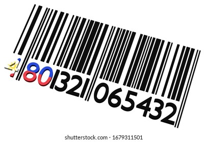 Code-barres des Philippines 3d sur fond blanc