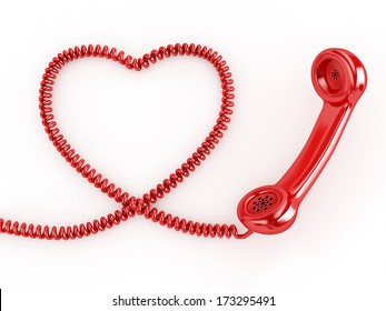 3d Phone Reciever with Heart Cord - isolated
