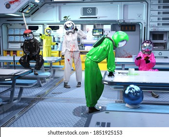 3D Photo of a Group of Space Workers Trying to Find the Sus Impostor Among Us