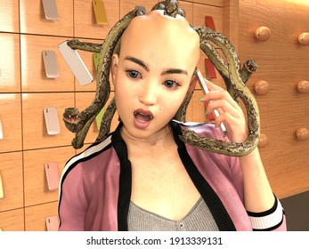 3D Photo of Medusa Answering the Phone
