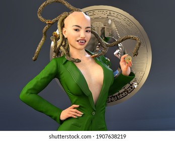 3D Photo of Medusa In a Green Suit Holding a Bitcoin