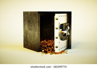 3d photo realistic vivid image of safe deposit box with golden coins