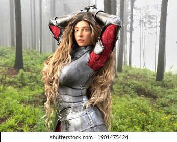 3D Photo of a Young Female Armoured Knight With Long Blonde Hair