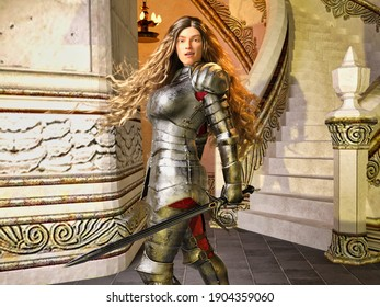 3D Photo of a  Young Female Knight With Armour and Sword