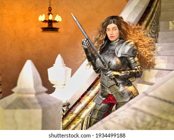 3D Photo of a Young Female Knight With Long Hair and a Sword