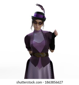 3D Photo of a Young Woman in a Purple Steampunk Dress with Goggles Isolated on White