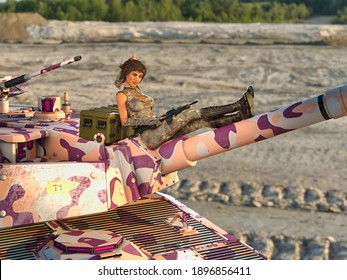 3D Photo of a Young Woman Resting on Top of a Tank