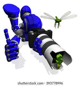 3D Photographer Robot Blue Color With DSLR Camera And Dragon Fly on top of Zoom White lens, thumbs up, Money Symbol