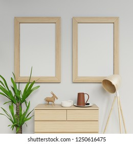 3d photorealistic home interior render of two a1 poster mockup design template with vertical wooden frame hanging on the clean gray wall in living space in straight front camera view