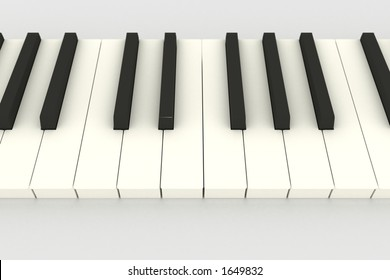 3D piano keyboard (keys) above view on white (DOF)