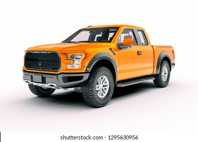 3d pick-up truck car on white background