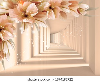 3d picture flowers in a tunnel with perspective