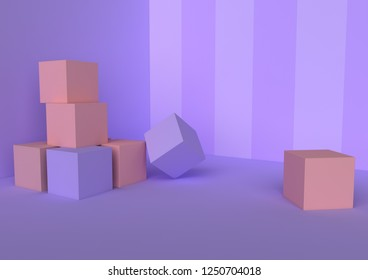 3d picture  violet and pink cubes, boxes, game