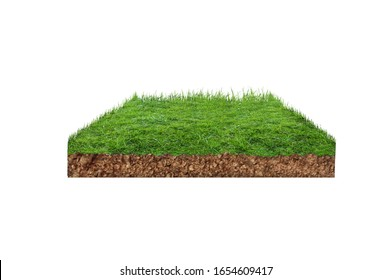 3D Piece of green land front view,isolated on background isometric view,3d land, 3d land isolated on white back ground for social media designs