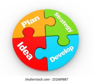 3d  pieces of puzzle. Strategy concept