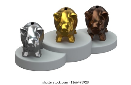 3D Piggy banks standing on the podium isolated on white background.