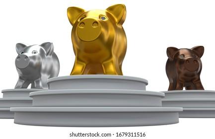 Bancs en cochon, sur le podium isolés sur fond blanc.