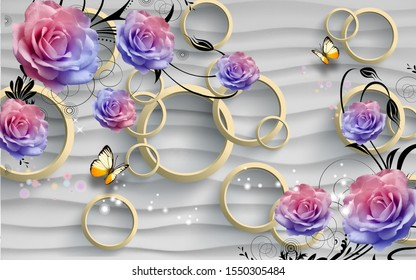 3d pink and blue flowers with cement  waves and 3d circles wallpaper