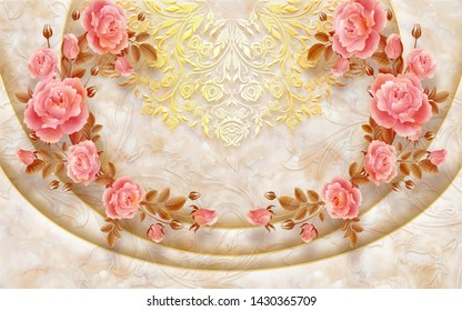 3D PINK FLOWER WITH MARBLE BACKGROUND-ILLUSTRATION