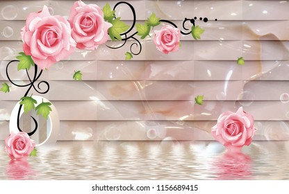 3d Pink flowers on jade background, 3d wallpaper for walls.