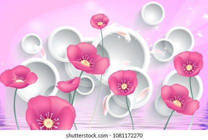 3D Pink flowers on white circles background wallpaper for walls. 3d rendering.