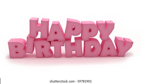3D Pink Happy Birthday