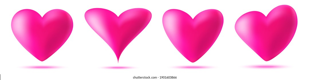 3d pink heart icon set. Valentines day card. Symbol of love. Valentine  banner design element.
