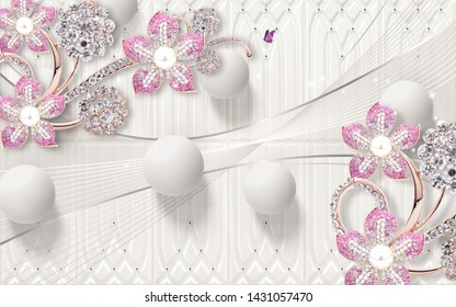 3D PINK JEWEL FLOWER AND PEARL FINISH CIRCLE DESIGN-ILLUSTRATION